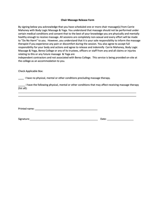 Chair Massage Release Form Printable Pdf Download