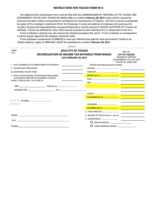 Fillable Form W-3 - Reconciliation Of Income Tax Withheld ...