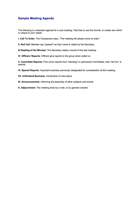 Sample Meeting Agenda Template Printable pdf