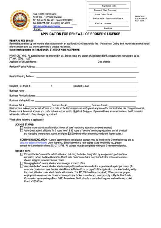 Form 6-re - Application For Renewal Of Broker's License