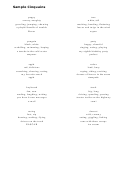 Sample Cinquain Poem Templates