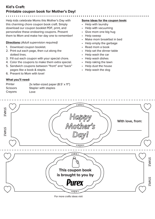 Happy Mother'S Day - Love Coupon Template printable pdf download