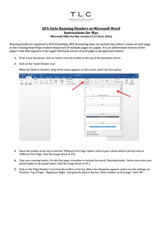 Apa Style Running Headers In Microsoft Word Instructions For Mac Printable pdf