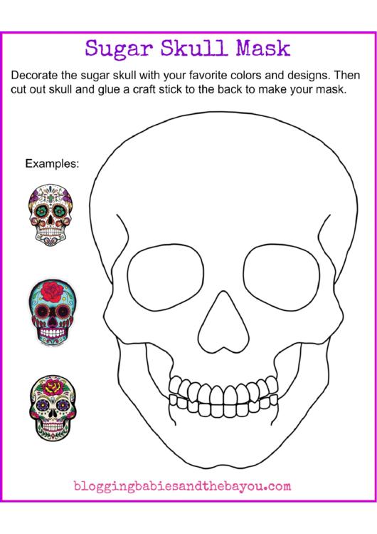 sugar skull mask template printable pdf download