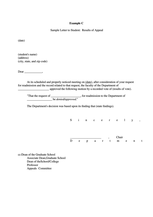 sample letter template to student