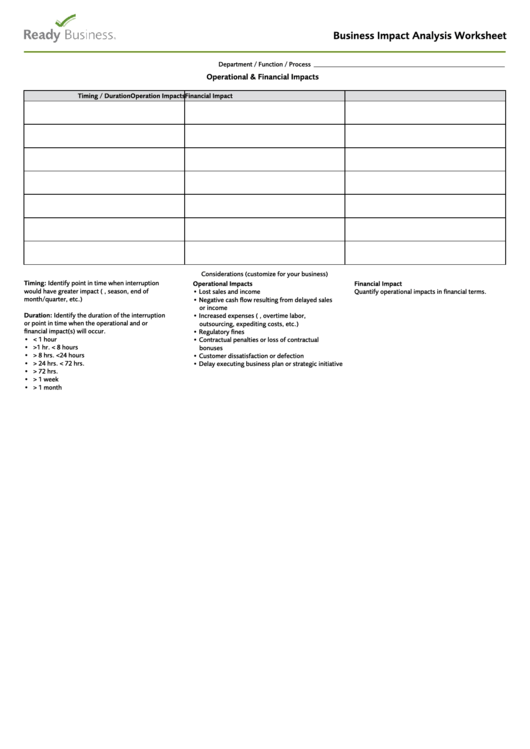 Business Impact Analysis Worksheet Template Printable pdf