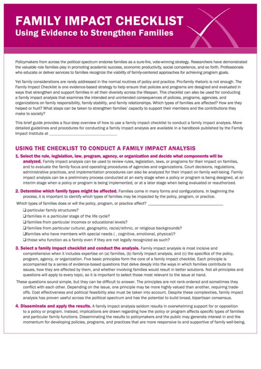 Family Impact Analysis Checklist Template Printable pdf