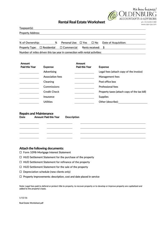 Rental Real Estate Worksheet Template