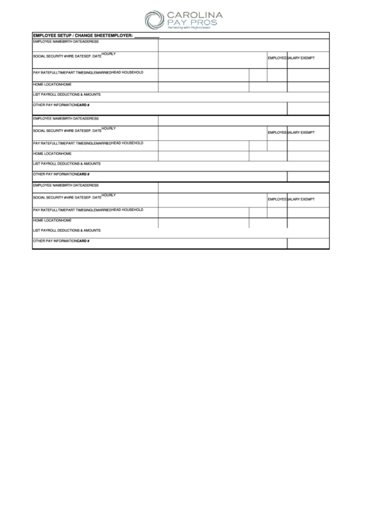 employee setup    change sheet printable pdf download