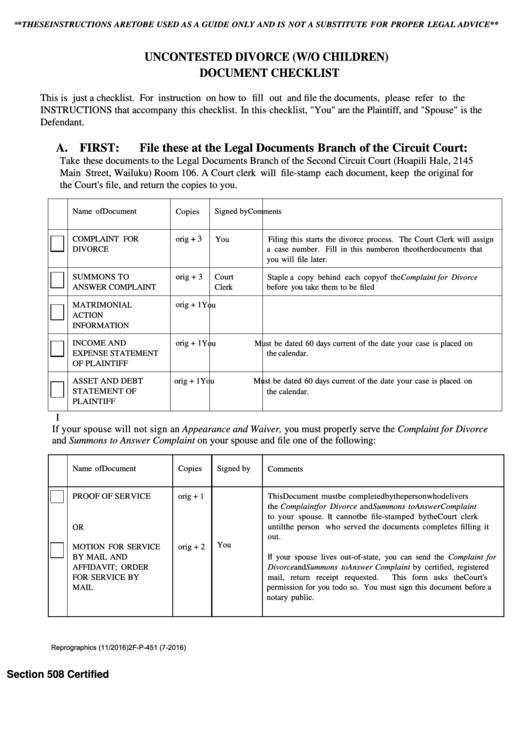 Uncontested Divorce (Without Children) Document Checklist Printable pdf