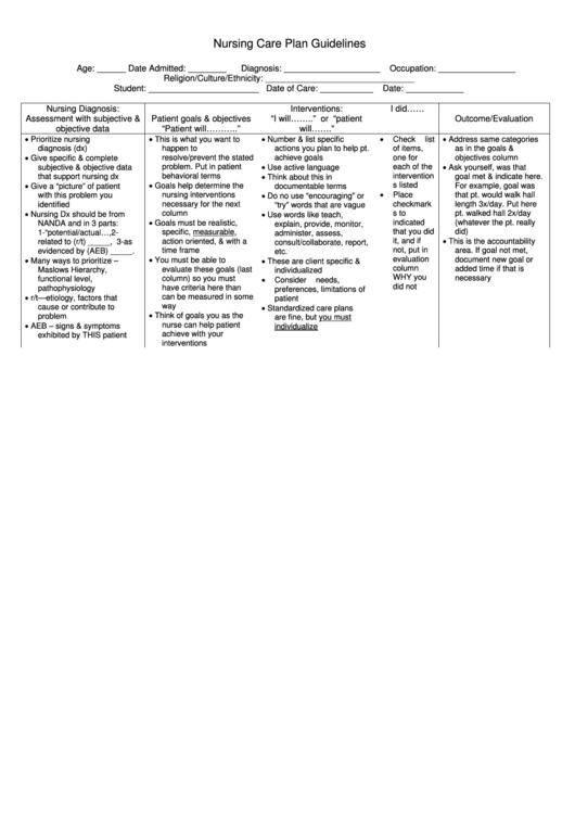 nursing care plan format template - nursing care plan guidelines sample nursing care plan