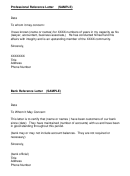 Bank Reference Letter & Professional Reference Letter (sample)