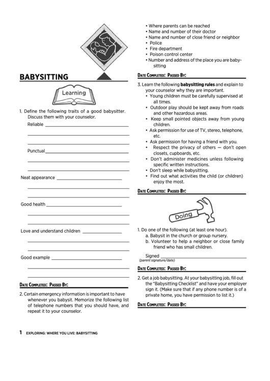 babysitter qualifications checklist template printable pdf