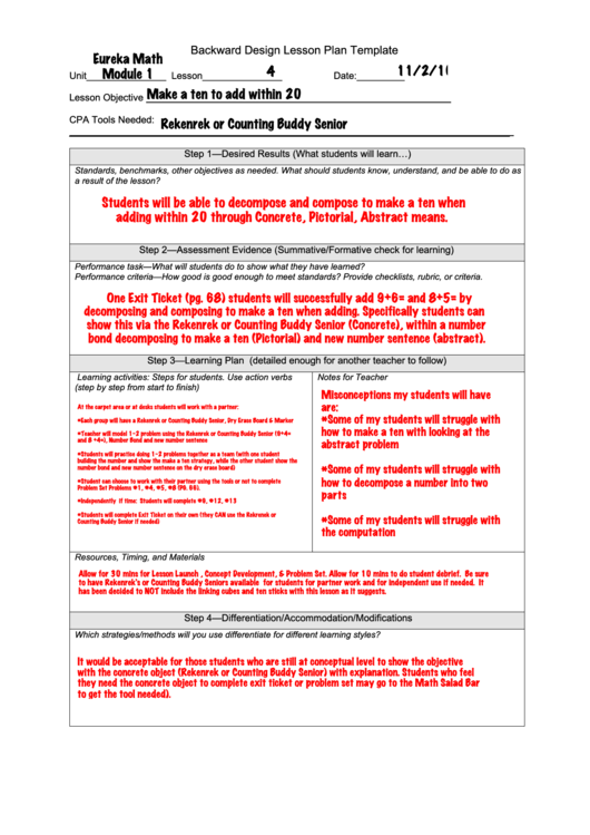 Top Backwards Design Lesson Plan Templates free to download in PDF ...