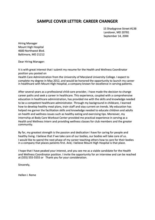 Sample Cover Letter: Career Changer Printable pdf