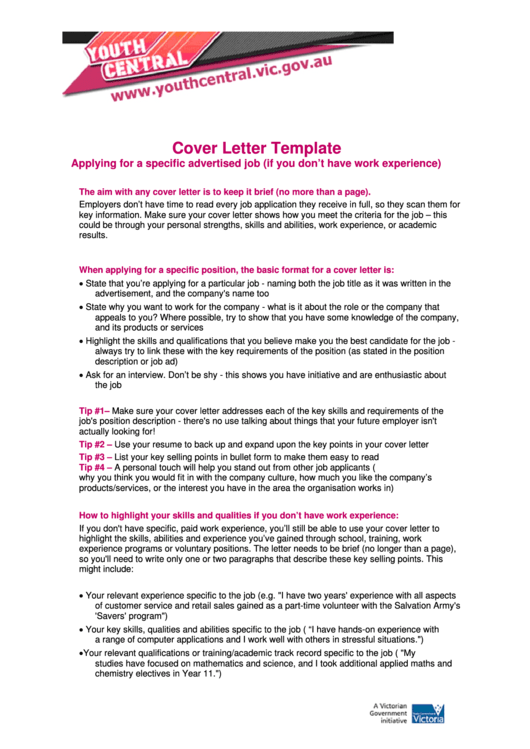 Cover Letter Template - Applying For A Specific Advertised Job Printable pdf