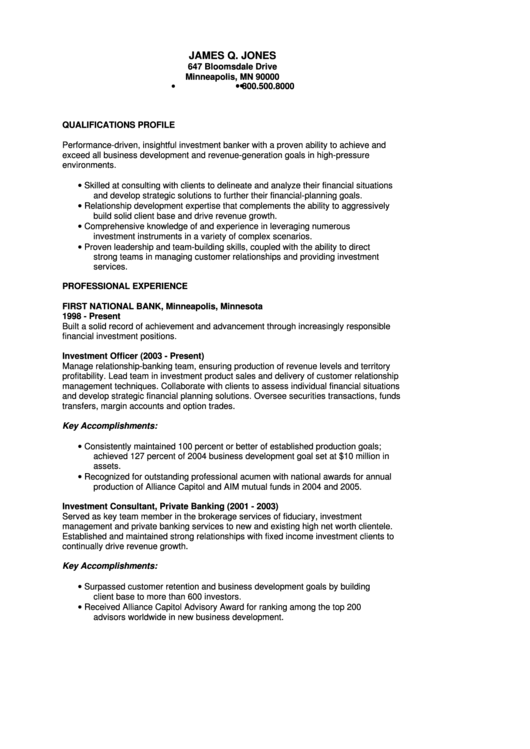 sample investment banking resume printable pdf download
