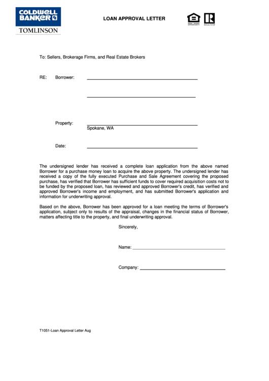 Sample Loan Approval Letter Template