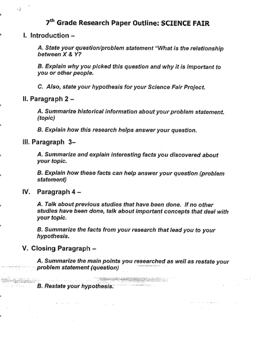 science fair research paper outline format Science fair research papers are written in the form format that you may use to write a science project report if your project includes people, animals, regulated substances, or hazardous materials, you can attach an appendix that includes special activities you needed to do for your project.