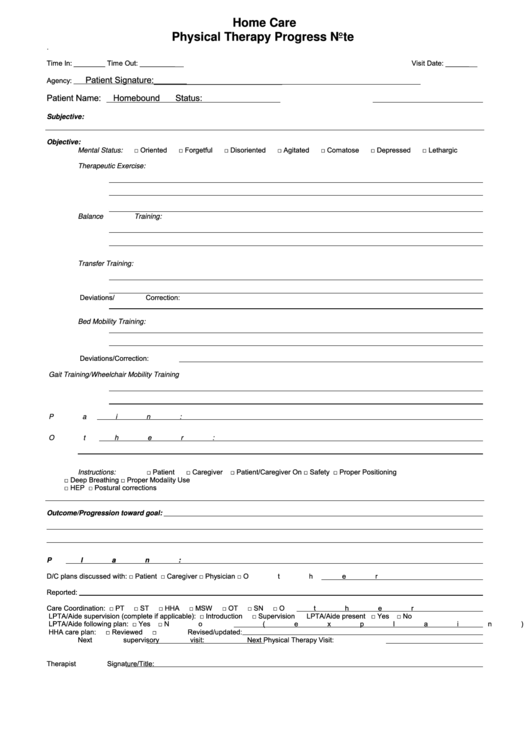 physical therapy progress note template printable pdf download