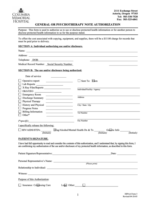 Fillable Hipaa Form 3 - General Or Psychotherapy Note Authorization Printable pdf