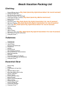 Beach Vacation Packing List Template