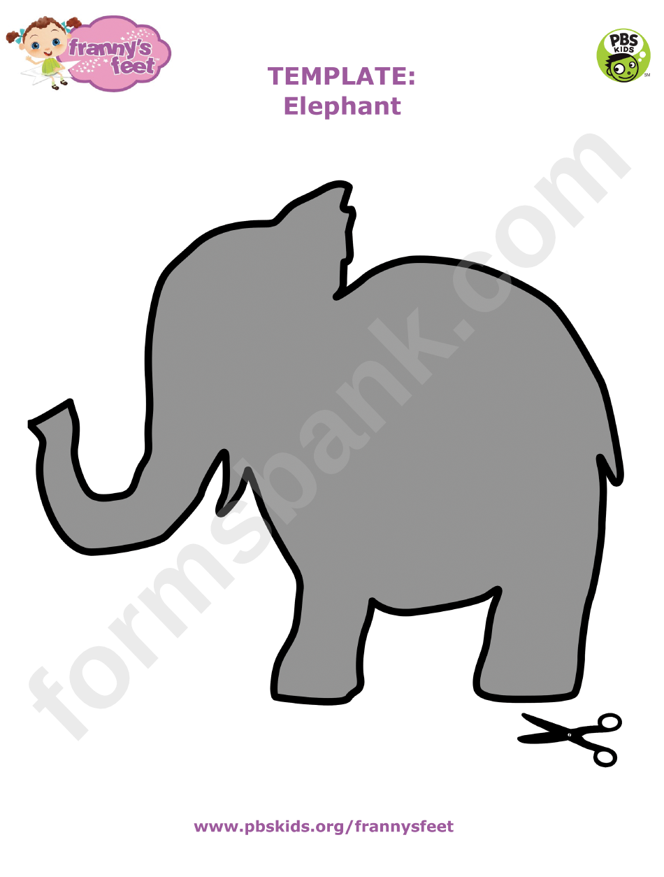 Cut-out Grey Elephant Template printable pdf download