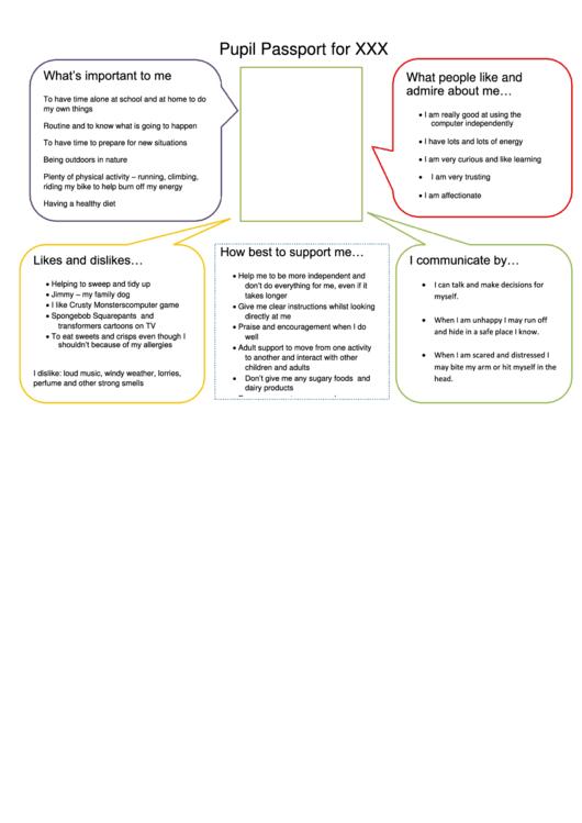 Pupil Passport Template Printable pdf