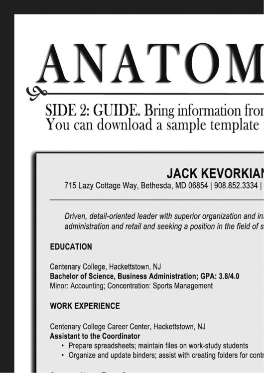 Anatomy Of A Resume - Resume Writing Instructions Printable pdf