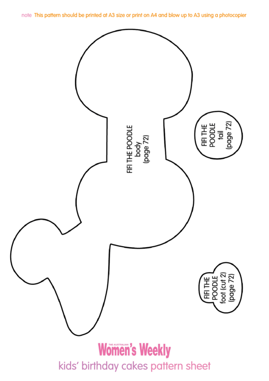 fifi the poodle birthday cake template printable pdf download