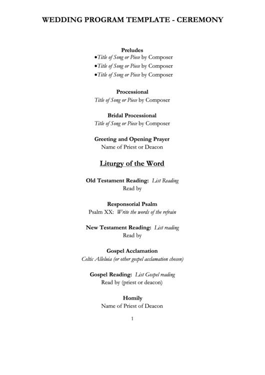 12 wedding program templates free to download in pdf