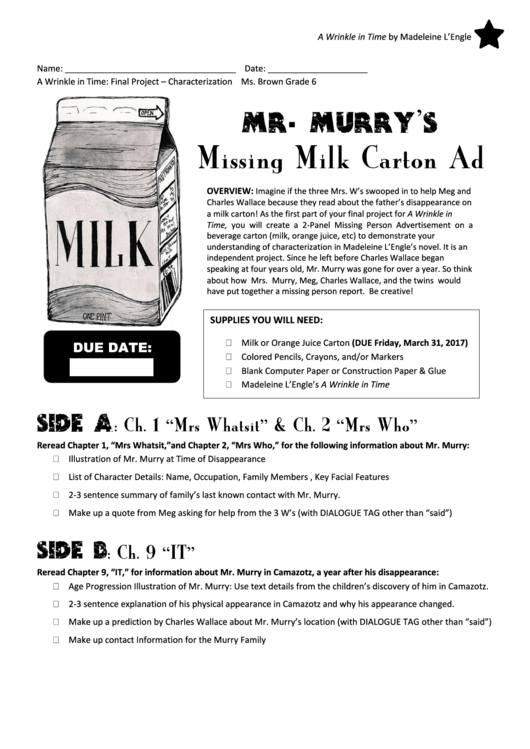 Missing Milk Carton Ad Template Printable Pdf Download