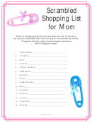 'scrambled Shopping List For Mom' Baby Shower Game Template