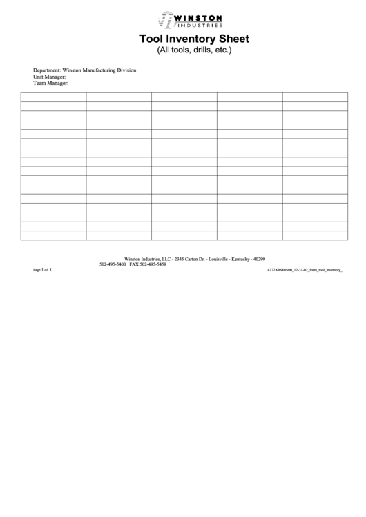 Tool Inventory Sheet Template printable pdf download