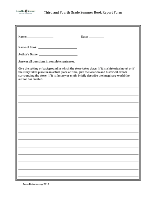 Third And Fourth Grade Summer Book Report Form Printable pdf