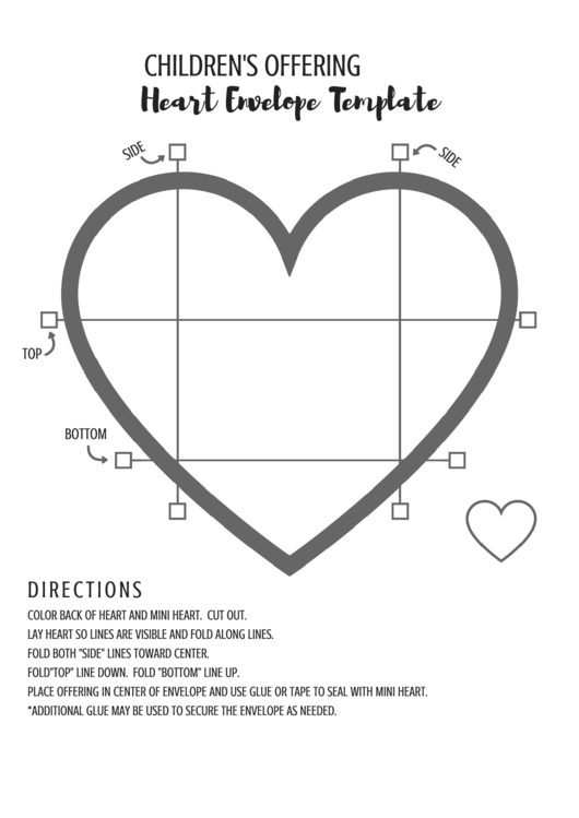 Cut-out Heart Envelope Template