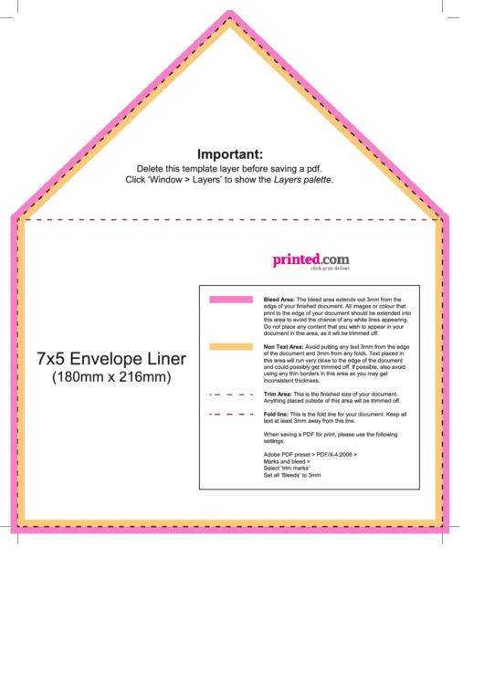 7x5 Envelope Liner Template