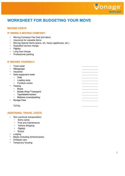 Worksheet For Budgeting Your Move printable pdf download