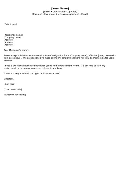2 weeks notice resignation letter template printable pdf