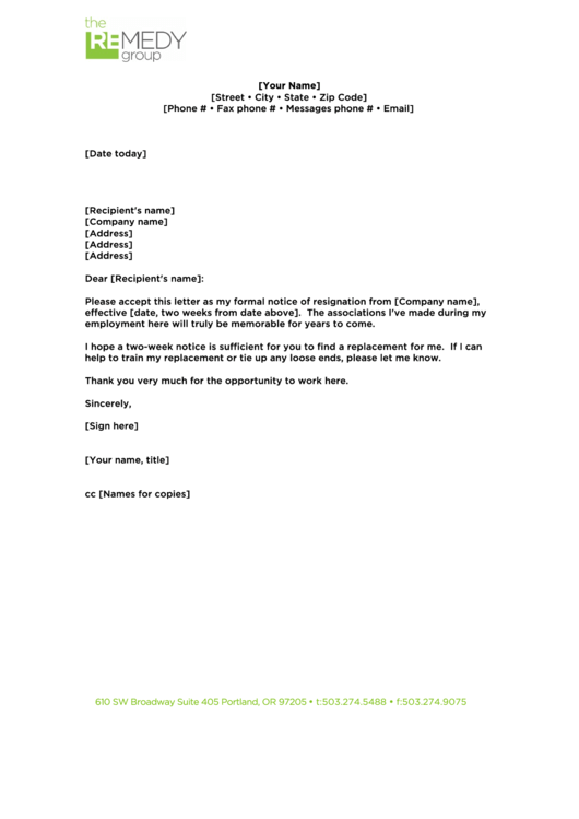 2 Weeks Notice Resignation Letter Template