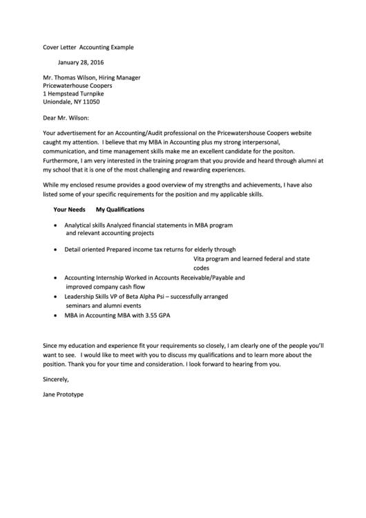 Cover Letter Accounting Example Printable pdf
