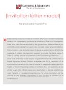 Invitation Letter Model For A Canadian Tourism Visa