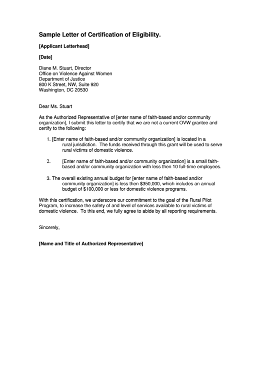 Sample Letter Of Certification Of Eligibility Template Printable pdf