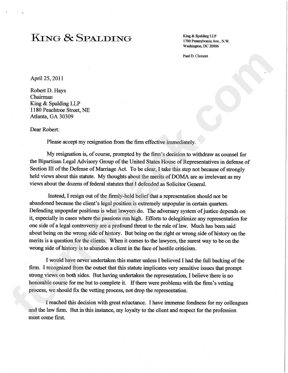 Sample Letter Of Resignation Effective Immediately