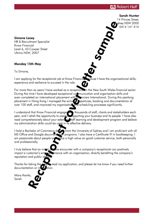 Receptionist Cover Letter Sample Printable pdf
