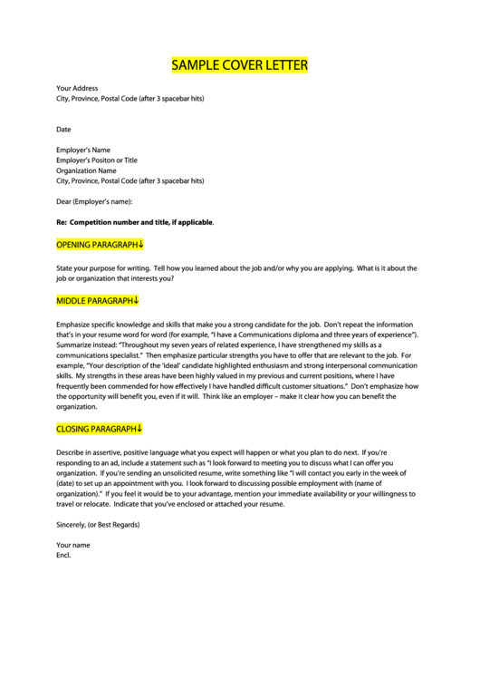 Sample Cover Letter Printable pdf