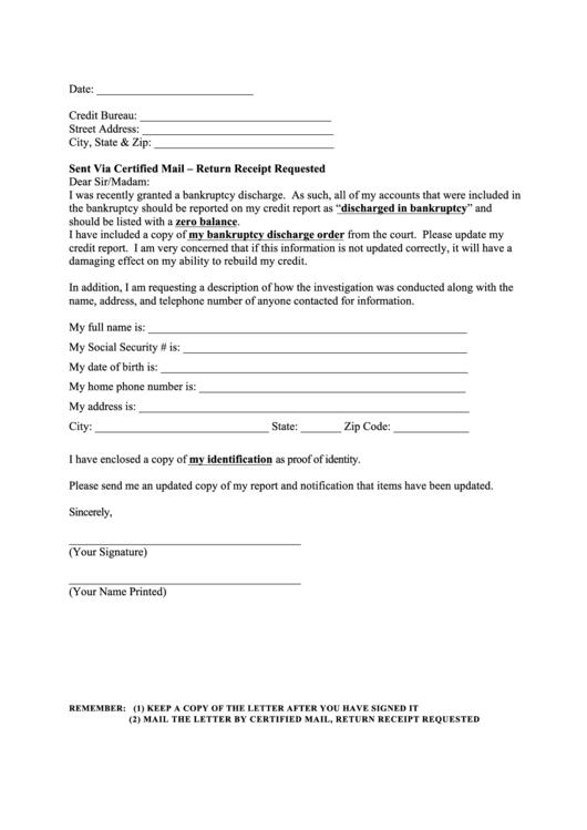 Sample Dispute Letter To Credit Reporting Bureau Printable