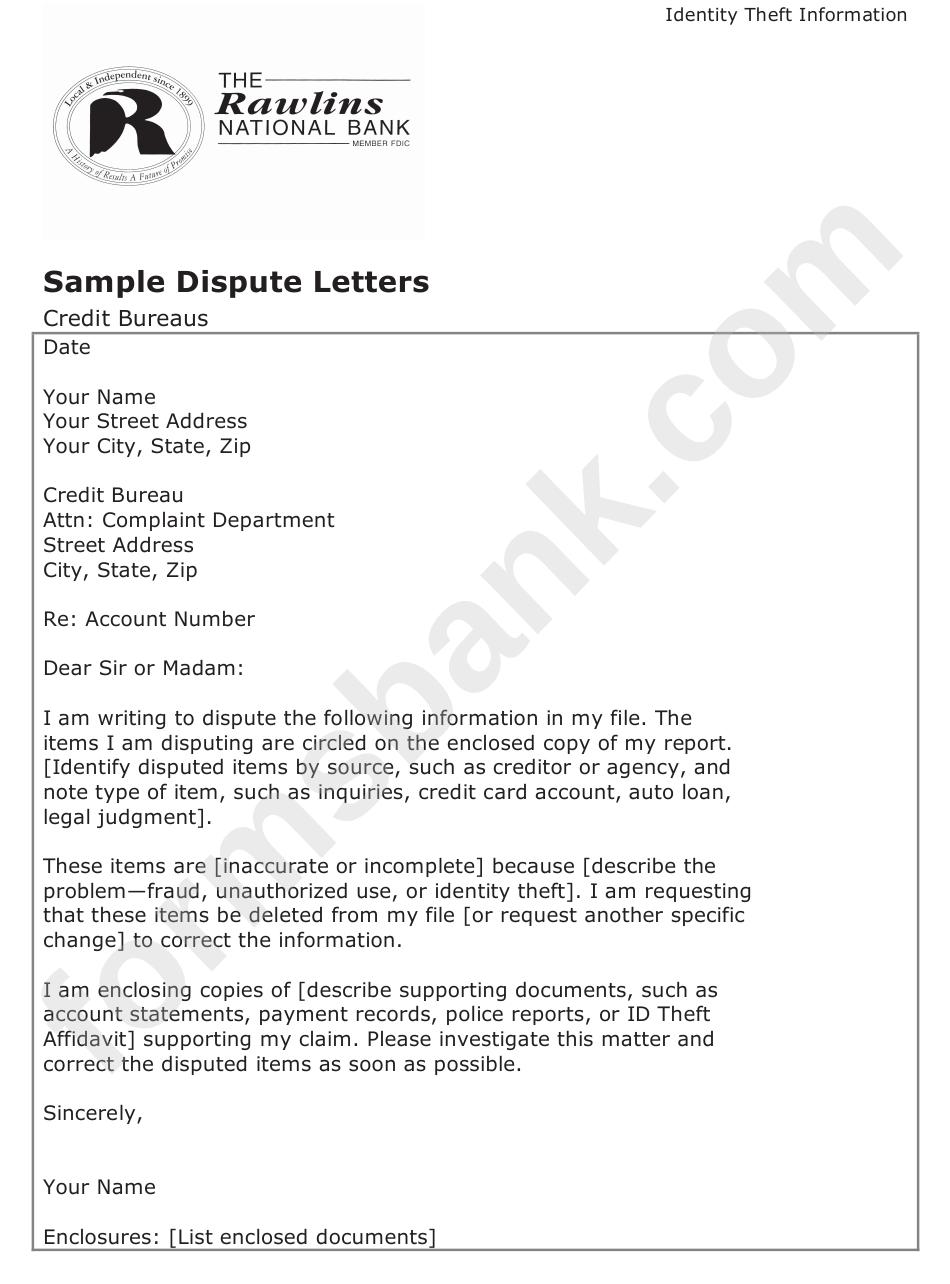 sample dispute letter template