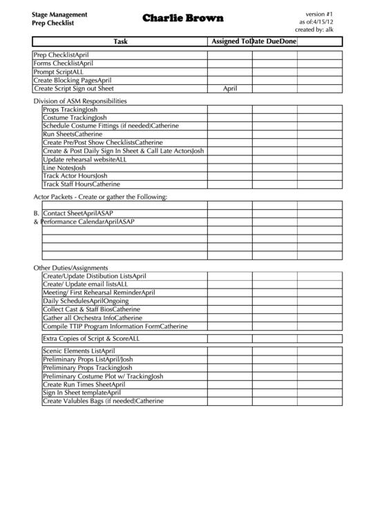 stage management prep checklist printable pdf download