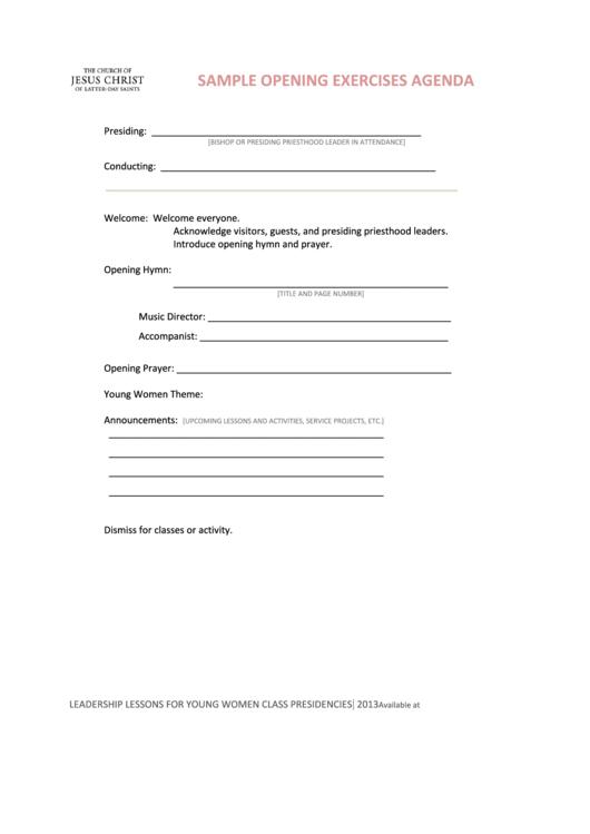 Sample Opening Exercises Agenda Printable pdf